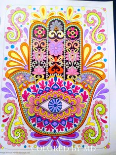 Coloring Books, Coloring Pages, Zentangles, Neon Colors, Hamsa, Painted Rocks, Mandala, Cross Stitch, Arts And Crafts