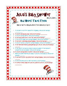 Dr Seuss Baby Shower Sprinkle Party Old Wives Tale Trivia Game Printable Dr Seuss Baby Shower, Baby Shower Games, Baby Shower Parties, Baby Showers, Sprinkle Party, Baby Sprinkle, Old Wives Tale, Wives Tales, Baby Gender Reveal Party
