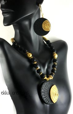 Black and gold polymer clay jewelry by ethnicekkacreations on Etsy