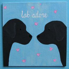 Black Labrador Retriever Puppy Dog LOVE Lab Adore by art4milkbones, $24.00
