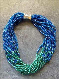 BLUE & GREEN MULTI STRAND AGATE NECKLACE,  AMAZING STATEMENT PIECE
