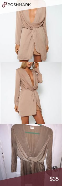 Deep V gold mini dress Satin textured deep V gold, long sleeve dress. Worn just once & in amazing condition!  Bought from Australian website peppermayo that sells similar clothes to sabo skirt. Tag says morning mist. Australian size 8 so US s/m Sabo Skirt Dresses Long Sleeve