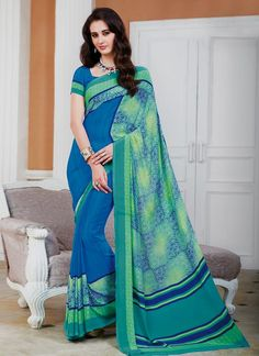 New collection of printed and designer sarees. Order this georgette green printed saree for casual and party.