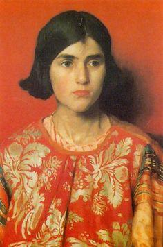 orange - woman - portrait - Thomas Cooper Gotch - painting