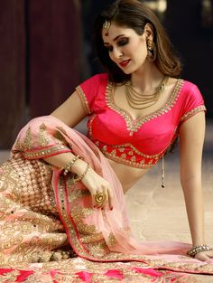 Pink Silk Lehenga Choli with Embroidery Work Pink Lehenga, Lehenga Choli, Sarees, Indian Wedding Outfits, Indian Outfits, Pink Silk, Designer Wedding Dresses, Indian Dresses, Gorgeous Women