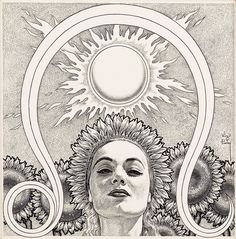 Leo - Astrology illustration, circa by Virgil Finlay current transit - Moon in Leo Science Fiction, Pop Art, Leo Rising, Sun Illustration, Book Illustrations, Sun Sign, Leo Zodiac, Zodiac Facts, Astrology Signs