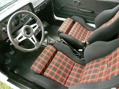 Golf mk1 interior with Interlagos plaid and optional sport seats
