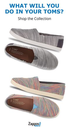 Zappos carries one of the largest collections of Toms for men, women, and kids. Each style features their signature classic toe stitching, elastic v-panel, suede leather footbed, and a flexible rubber outsole.  These shoes are made for all-day wear whether you are simply walking the city streets or traveling the world. Shop today.