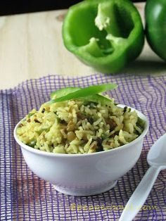 Capsicum Rice or Green Pepper Rice is best one pot meal with step by step pictures and instruction. | pepperbowl.com
