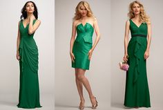 From four seasons Magazine : Colorful bridesmaid dresses are one way to work emerald green into your wedding palette. Here are three of our favorite styles from left to right from Watters bridesmaids collection. http://www.watters.com/CollectionHome/WattersWatters/  :   http://magazine.fourseasons.com/wedding-ideas/emerald-green-wedding-colors
