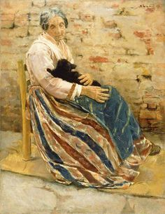 An Old Woman With A Cat   Max Lieberman Max Liebermann Was A German-Jewish Painter And Printmaker, And One Of The Leading Proponents Of Impressionism In Germany. 1847-1935