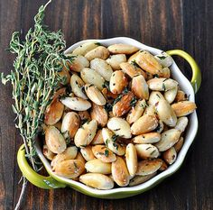 pan-fried herbed almonds