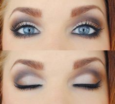 Make up to make those blue eyes pop! I'm always looking to enhance my blue eyes with the right eye make up. Purple Eye Makeup, Makeup For Brown Eyes, Skin Makeup, Makeup Eyeshadow, Makeup Contouring, Smokey Eyeshadow, Make Up For Blue Eyes Blonde Hair, Eyeshadow Ideas, Eyeshadow For Blue Eyes
