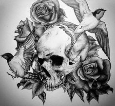 Rose Flowers And Skull Black And White Tattoo Design