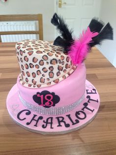 Topsy turning pink leopard print 18th birthday cake