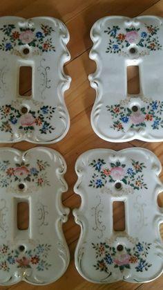 Vintage porcelain ceramic light switch plate cover flower design, set of 4 Japan