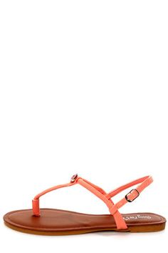 Check it out from Lulus.com! Less is more, so get the most out of simplicity with the Morris 83 Melon Rhinestone T-Strap Thong Sandals! Vegan nubuck sandals have a single coral gem that sits atop the thong-style T-strap, with an adjustable quarter strap that fastens with a silver buckle (and hidden elastic). 1/4