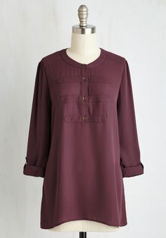 Carefree Ride Top - Purple, Buttons, Work, Scholastic/Collegiate, 3/4 Sleeve, Fall, Woven, Good, Crew, Long