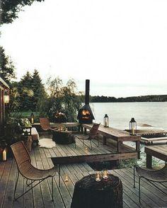 Decks/patios on a lake. Outdoor Rooms, Outdoor Gardens, Outdoor Living, Outdoor Furniture Sets, Lakeside Living, Outdoor Seating, Lakeside View, Lakeside Cabin, Outdoor Patios