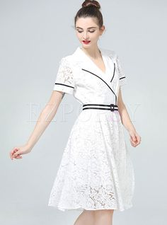 Shop for high quality Work Short Sleeve Lace Sheath A-line Skater Dress online at cheap prices and discover fashion at Ezpopsy.com