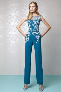 Sapphire Blue Silk Crepe Jumpsuit with a sheer neckline and a belted waist, featuring White crystal beading foliage on the top.