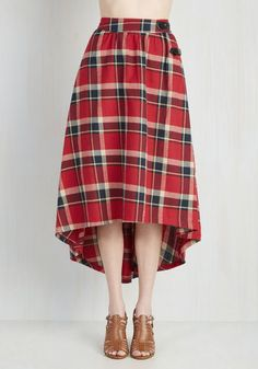 London is for Lovers Skirt in Ruby - Red, Plaid, Pockets, Casual, 90s, Steampunk, High Waist, Fall, Winter, Woven, Best, Red, Buckles, Party, A-line, Long