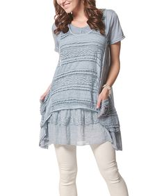 Simply Couture Blue Lace Sidetail Tunic - Women by Simply Couture #zulily #zulilyfinds