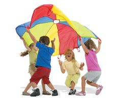 Parachute games is a fun activity to help with gross motor movements, motor planning, and proprioception