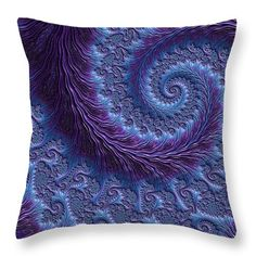 """Purple And Blue Spiralling Fractal Throw Pillow (26"""" x 26"""") by Mo Barton.  Our throw pillows are made from 100% spun polyester poplin fabric and add a stylish statement to any room.  Pillows are available in sizes from 14"""" x 14"""" up to 26"""" x 26"""".  Each pillow is printed on both sides (same image) and includes a concealed zipper and removable insert (if selected) for easy cleaning."""