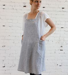 Image of French Linen Striped Apron