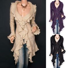 Trendy Beige Ruffled Floral Applique Tiered Hem Cardigan Long ...