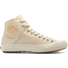 PF Flyers Women's Sumfun Hi Athletic ($84) ❤ liked on Polyvore featuring shoes, sneakers, natural, wedge sneakers, pf flyers shoes, hi tops, lace up shoes and hi top wedge sneakers