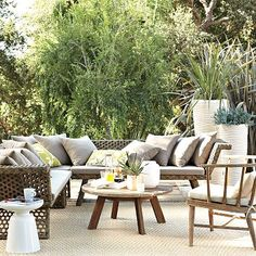 West Elm Montauk sectional patio furniture...driftwood grey finish