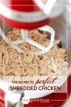 Healthy Recipes : Illustration Description Learn how to shred cooked chicken in SECONDS so you can make mealtime happen in MINUTES! Eat the best, leave the rest ! Cooking Chicken To Shred, How To Cook Chicken, Cooked Chicken, Chicken Salad, Chicken Wraps, Lime Chicken, Chicken Tacos, Chicken Chili, Chicken Soup