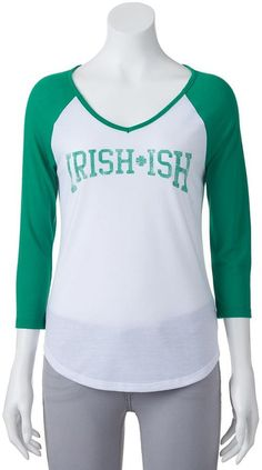 "Juniors' ""Irish-Ish"" Raglan Graphic Tee"