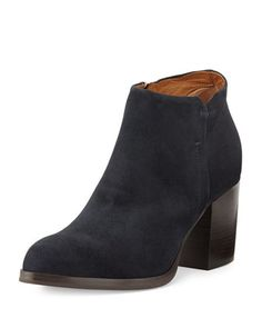 Anzio Low-Cut Suede Ankle Boot, Blue Notte by Alberto Fermani at Bergdorf Goodman.