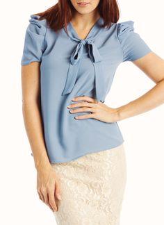 short sleeve tie collar top-love this shirt