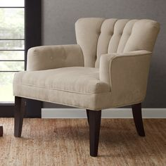 Accent Club Chair Upholstered Ivory Espresso Living Room Furniture Durable  | eBay