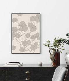 Grey Print Wall Art Print Botanical Print Flower Wall Art   Etsy Neutral Color Scheme, Color Schemes, Flower Wall, Flower Prints, Grey And Beige, Beige Walls, Large Prints, Botanical Prints, Wall Art Prints
