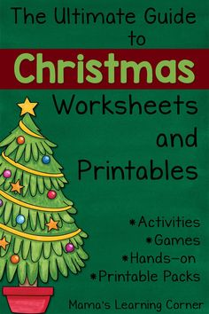 Take a look through this MEGA list of Christmas Worksheets and Printables for your Preschooler - 3rd grader! Hands-on activities, math, coloring pages, & more!