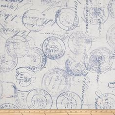 Tim Holtz Eclectic Elements 108'' Quilt Backing Correspondence Blue Fabric