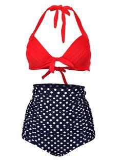 Red Halter Bikini Top And High Waist Polka Dot Bottom