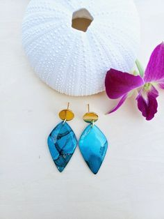 Your place to buy and sell all things handmade Earrings Handmade, Handmade Jewelry, Handmade Items, Alcohol Ink Jewelry, Statement Earrings, Drop Earrings, Teal And Gold, Etsy Crafts, Dangles