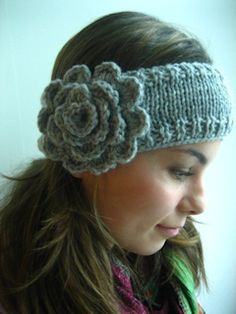 crocheted and knit headband