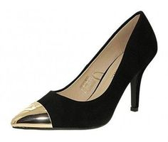 2c36068bd69b3 escarpin toscania rita noir bout doré, chaussure f femme toscania a23tosc001