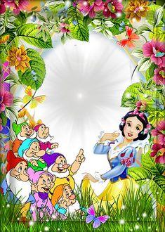 Snow White and the Seven Dwarfs Kids Transparent Frame Scrapbook Da Disney, Disney Frames, Boarder Designs, Border Templates, Boarders And Frames, Disney Printables, Cute Frames, Page Borders, Birthday Frames