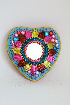 Mexican tin metal mirror on wood plaque / Mexican by TheVirginRose, $32.00