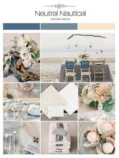 Neutral nautical (navy, gray, beige) wedding inspiration board, color palette, mood board via Weddings Illustrated