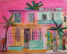 Under the Midday Sun - Vedado by Jenny Wheatley at Bourne Gallery - Stock Details New Artists, Famous Artists, Vivid Colors, Vibrant, Cuban Art, Watercolor Illustration, Watercolour, Building Art, Folk Art