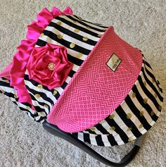 Black and White Stripe Infant Car Seat Covers Hot Pink Baby